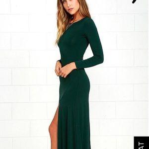 Lulus emerald green long sleeve maxi dress